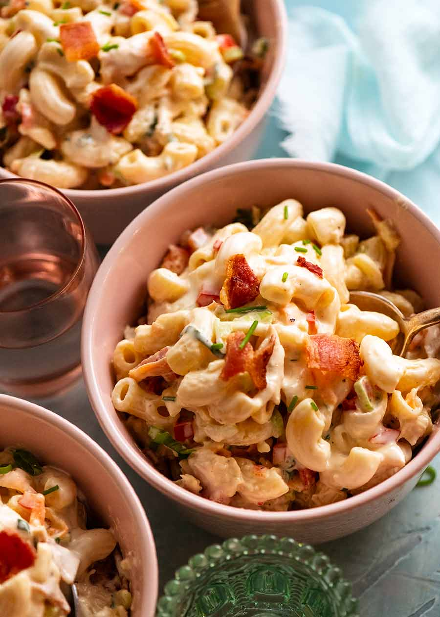 3 bowls of Chicken Pasta Salad with Creamy Dressing