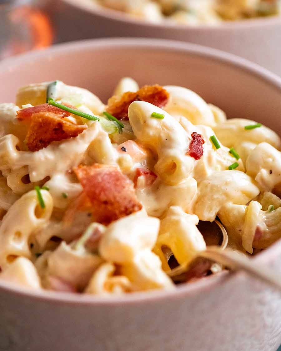 Close up of Chicken Pasta Salad with Creamy Dressing