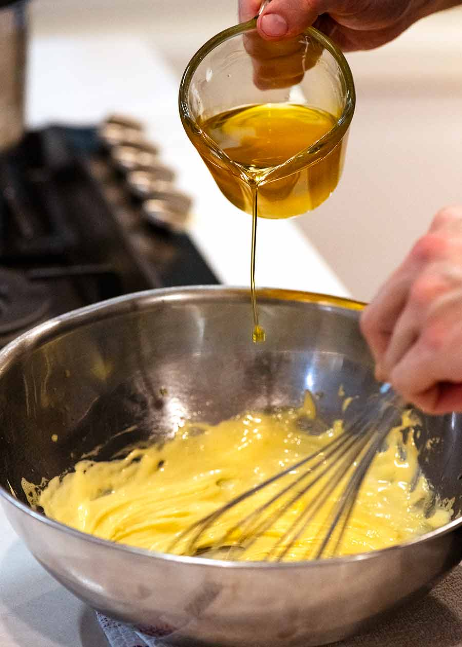Bearnaise Sauce being made by hand