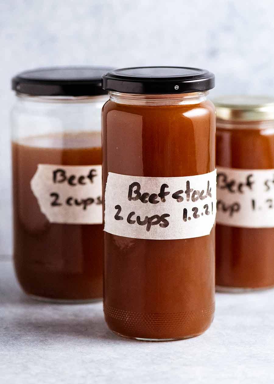 Jars of homemade beef stock