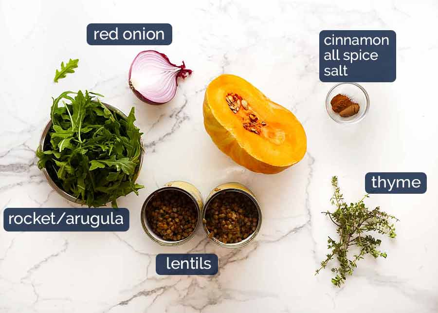 Ingredients in Honey Cinnamon Pumpkin Lentil Salad