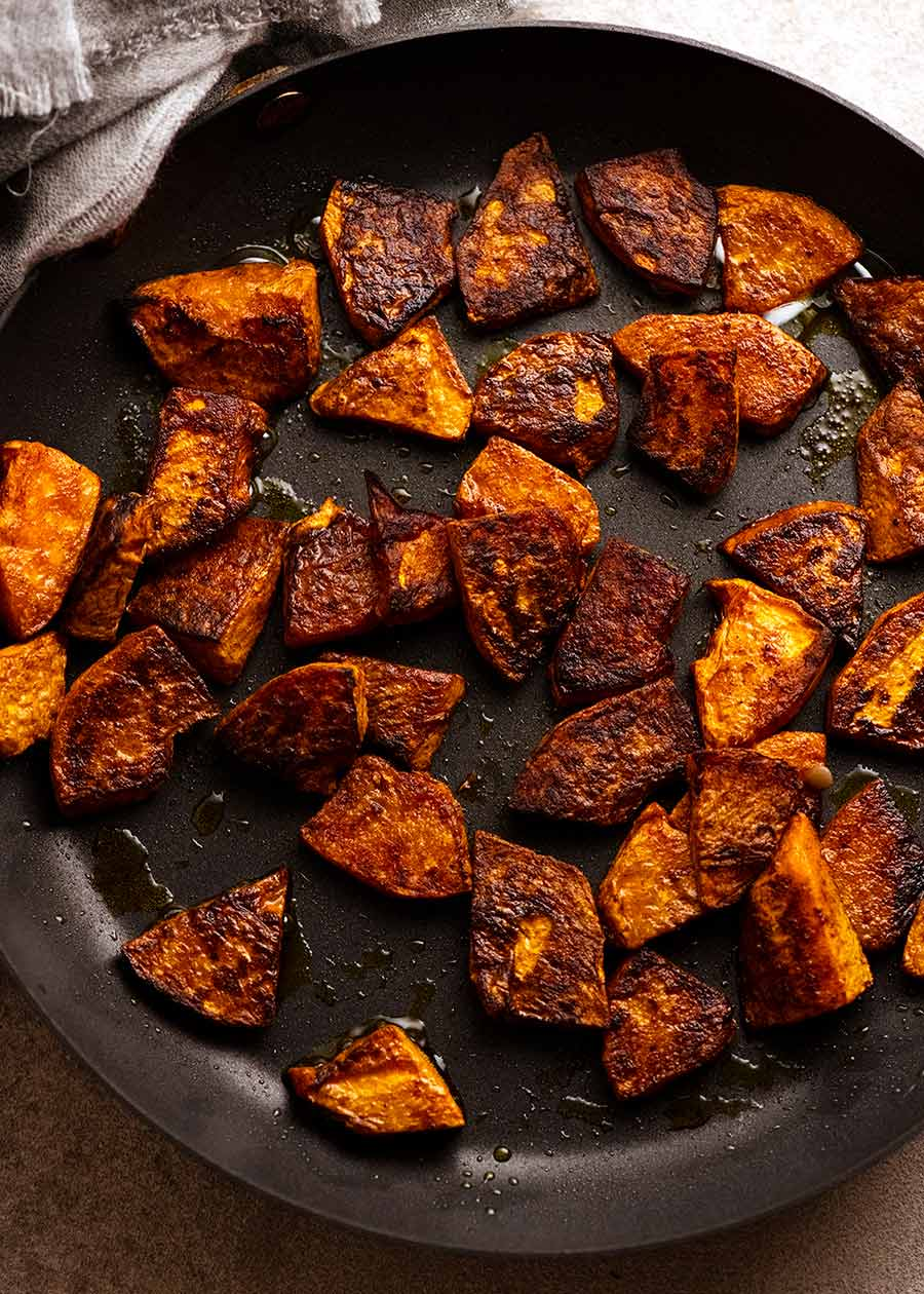 Skillet with pan roasted Honey Cinnamon spiced pumpkin