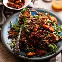 Honey Cinnamon Pumpkin Lentil Salad on a platter ready to be served