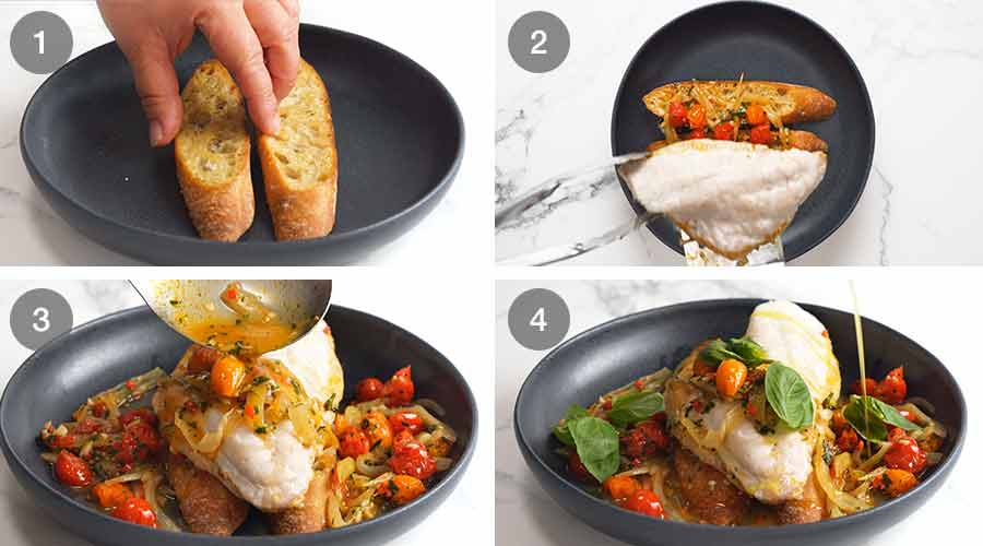 How to make Acqua Pazza - Italian Poached Fish on garlic crostini