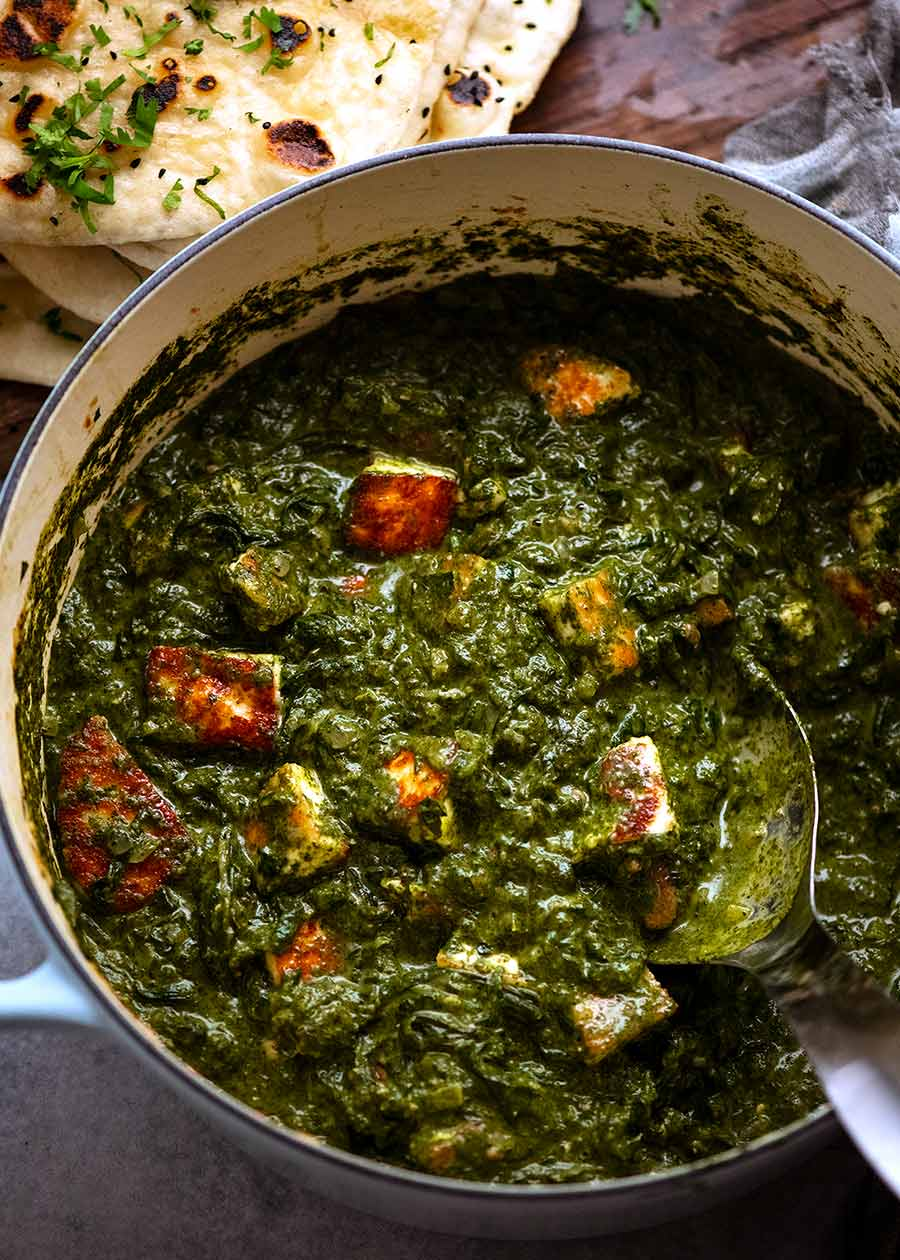 Pot of freshly made Palak Paneer, ready to be served