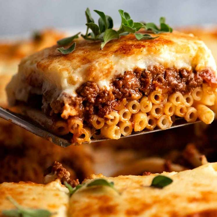 Serving a slice of Pastitsio, Greek Pasta Bake
