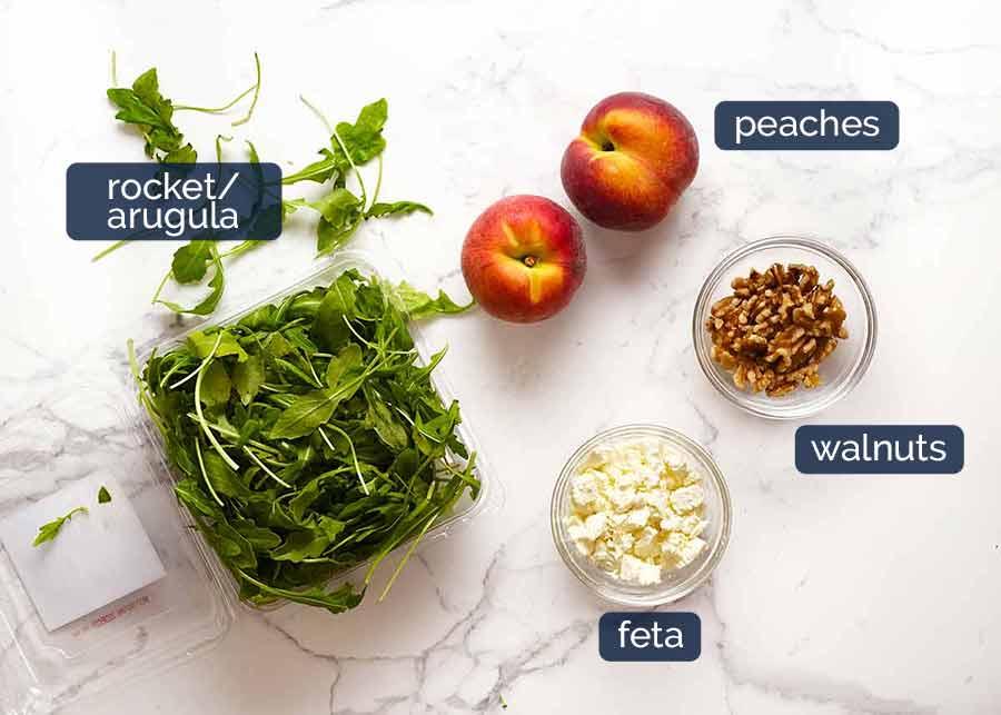 Peach Salad ingredients