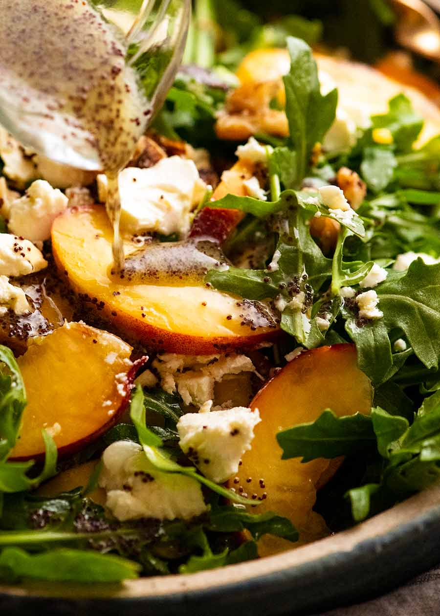 Close up of Peach Salad with Poppyseed Dressing