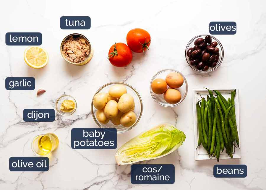 Ingredients in Salad Nicoise - French Tuna Salad