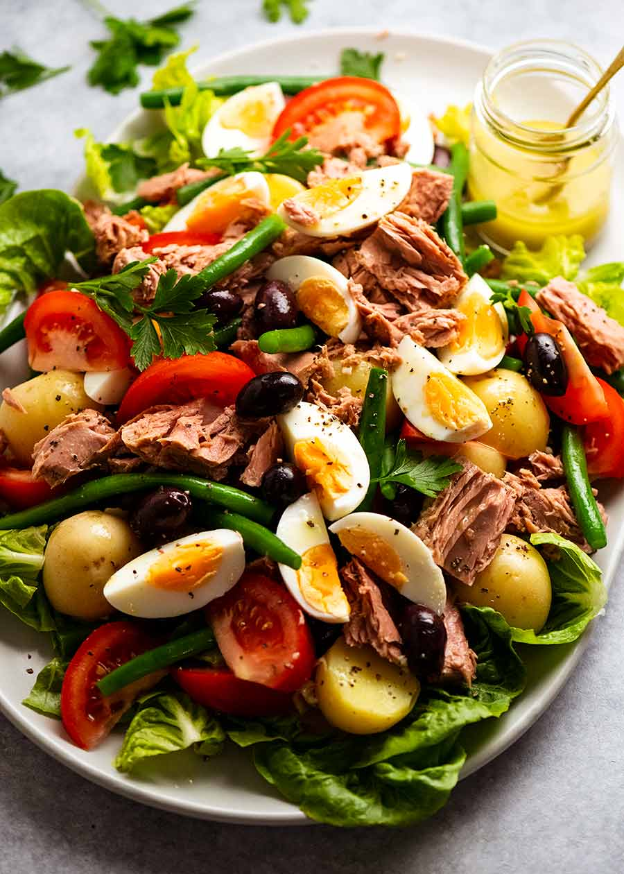 Platter piled high with Salad Nicoise - French Tuna Salad, ready to be served