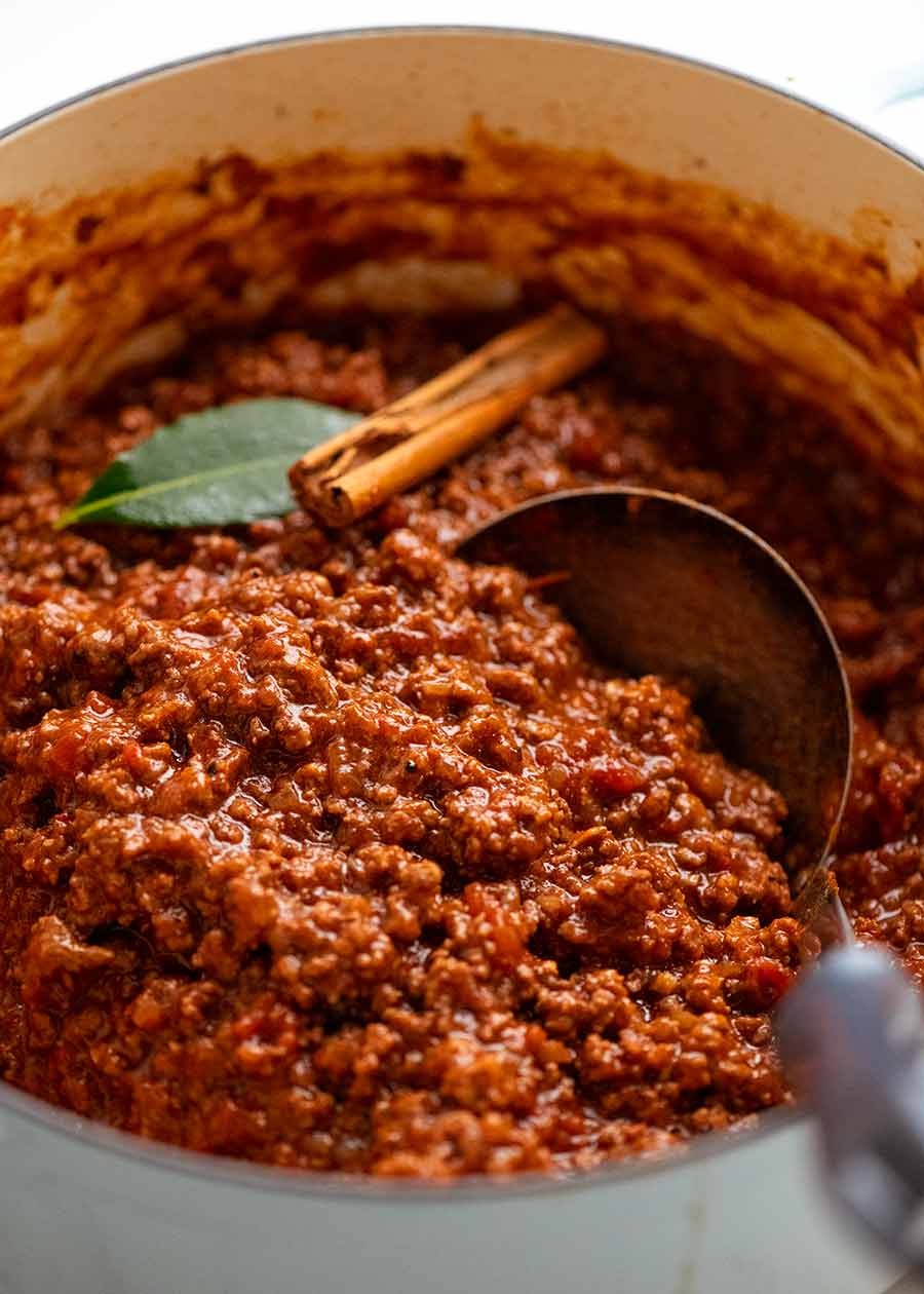Pot of thick beef meat sauce for Pastitsio - Greek beef pasta bake