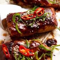 Close up of freshly cooked Asian Glazed Baked Barramundi