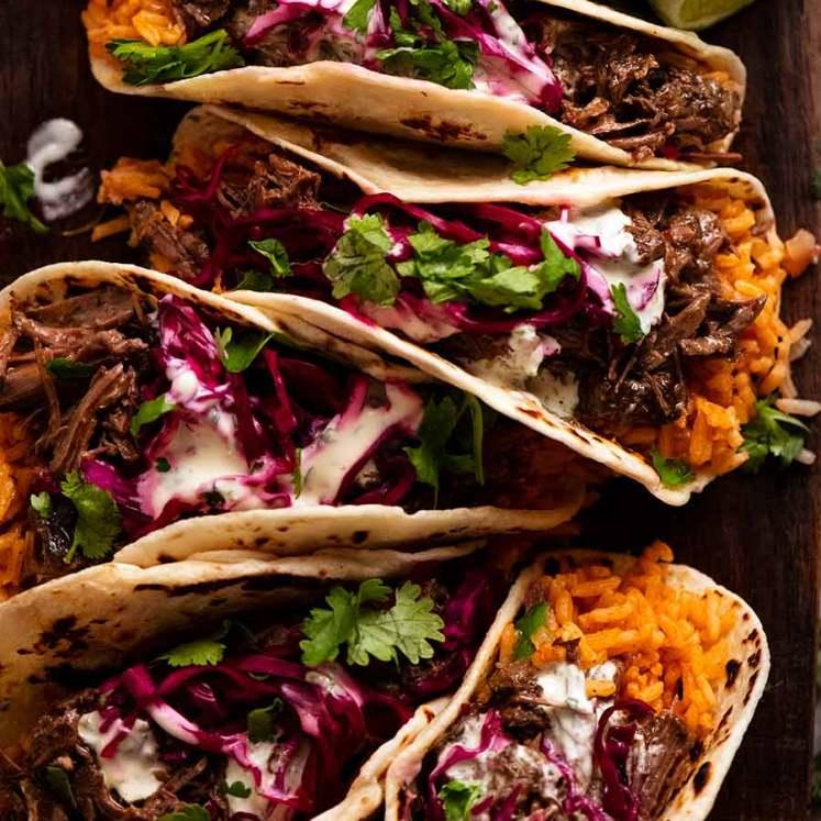 Overhead photo of Beef Barbacoa Tacos