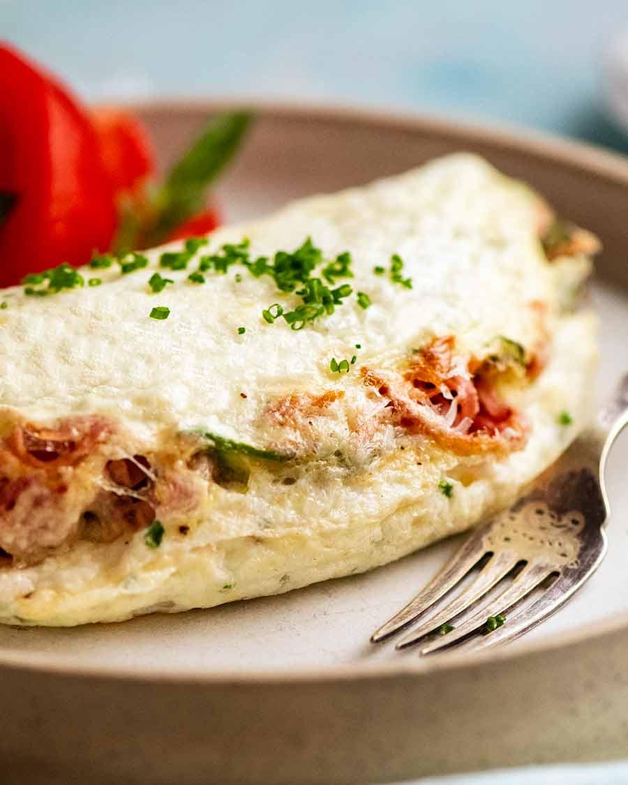Side shot of Fluffy Egg White Omelette