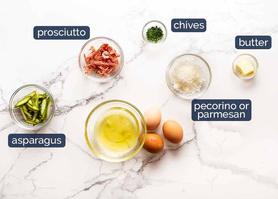 Ingredients in Fluffy Egg White Omelette with Asparagus and Prosciutto