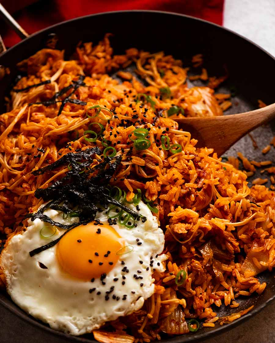 Kimchi Fried Rice in a skillet, freshly cooked