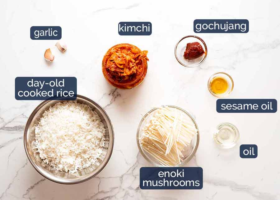 Ingredients in Kimchi Fried Rice