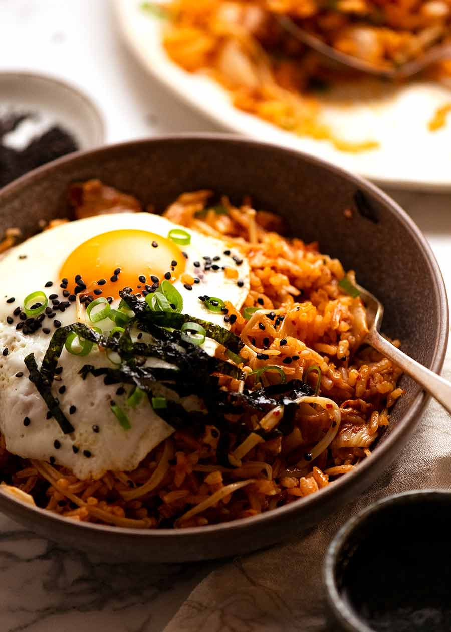 Bowl filled with Kimchi Fried Rice