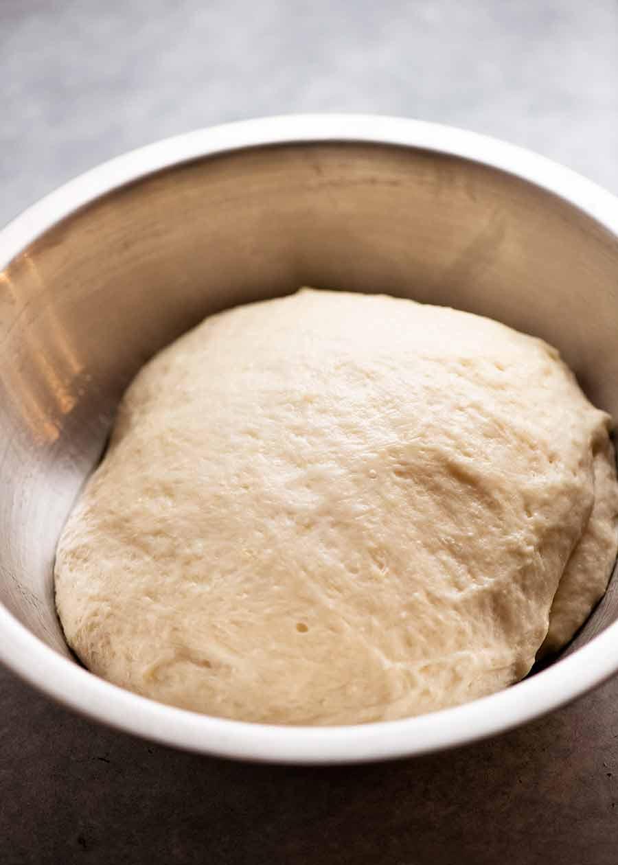 Bowl with focaccia dough