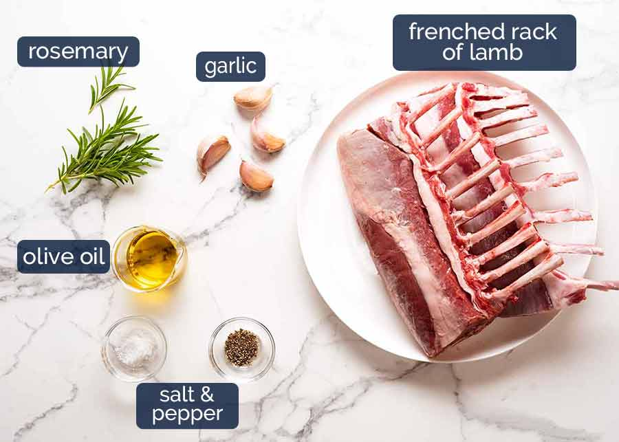 Ingredients in herb and garlic marinated Rack of Lamb