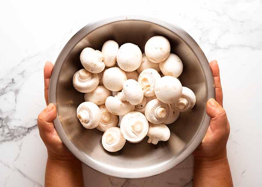 Bowl of mushrooms for Mushroom Gravy