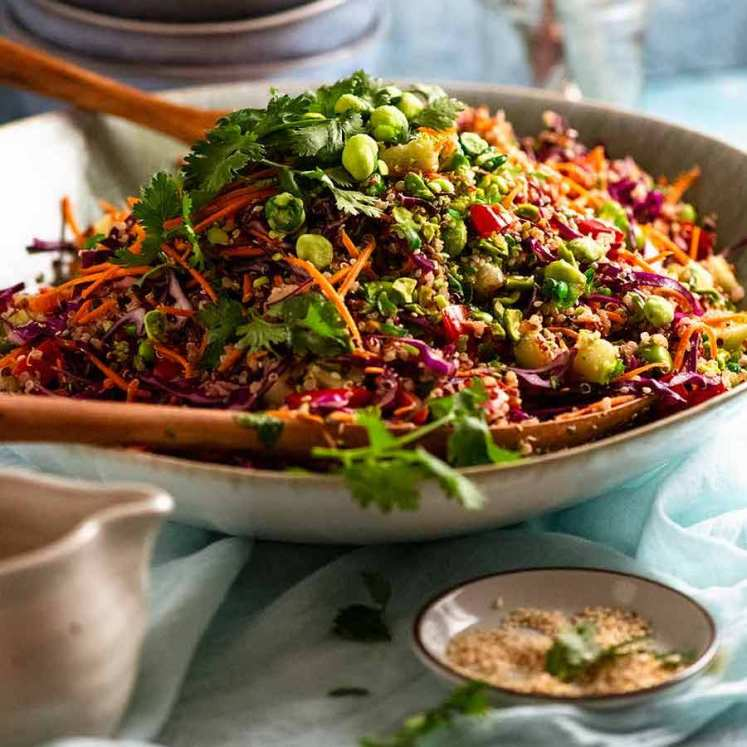 My Favourite Quinoa Salad in a large green bowl, ready to be served