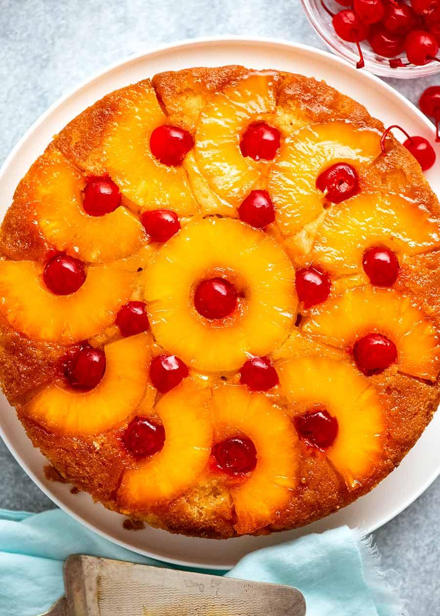 Overhead photo of Pineapple Upside Down Cake