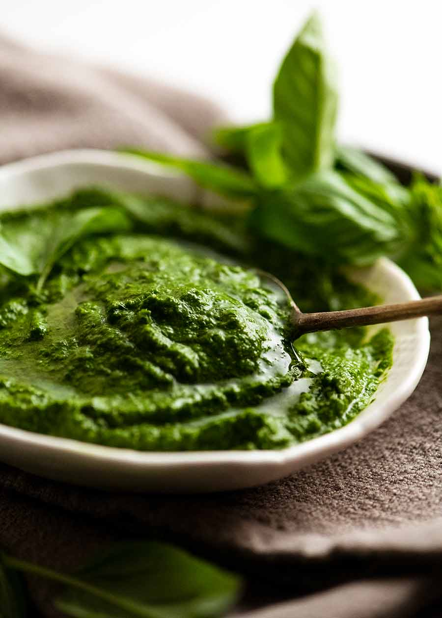 Salsa Verde in a dish with a spoon