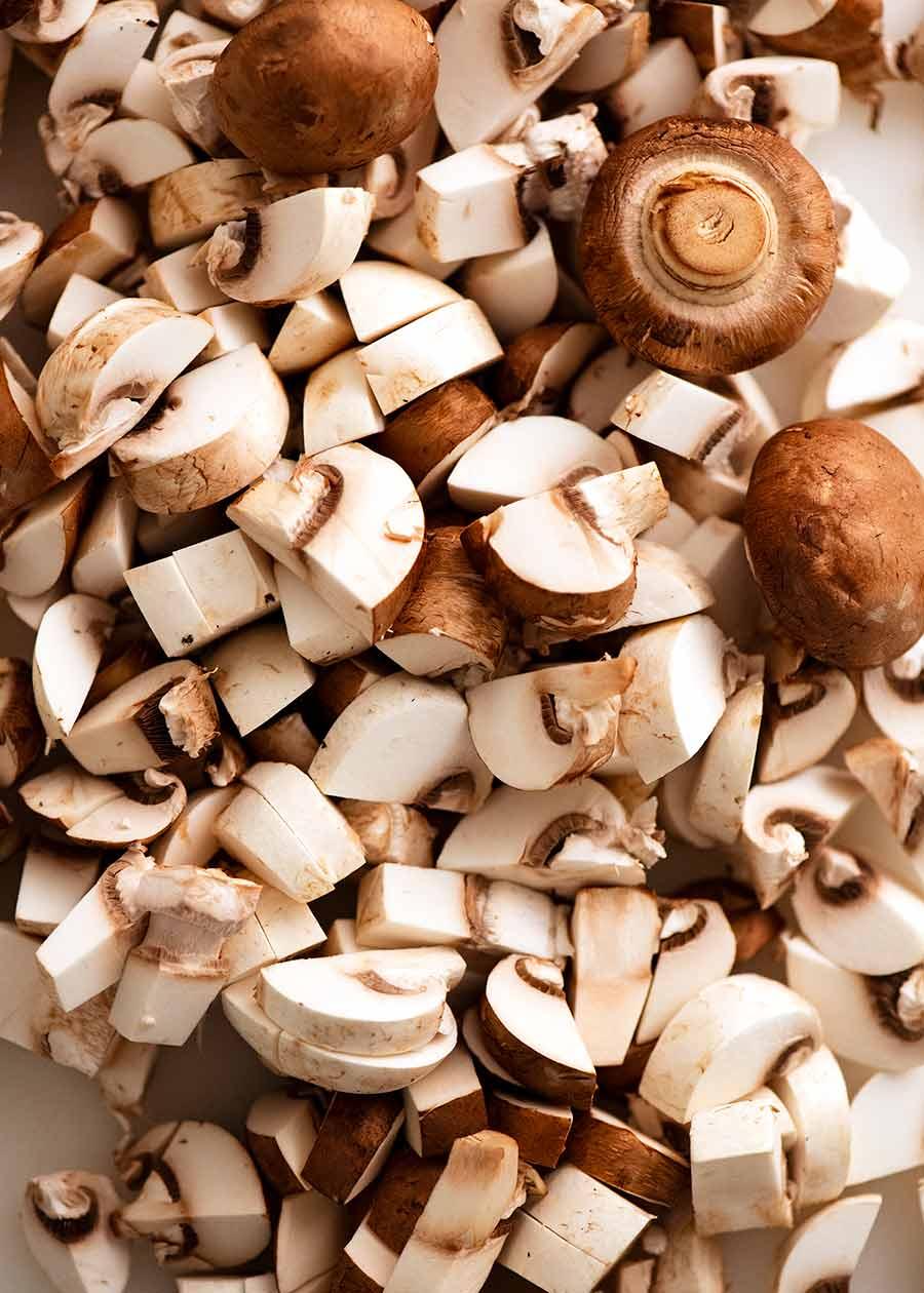 Mushrooms chopped for Mushroom Soup
