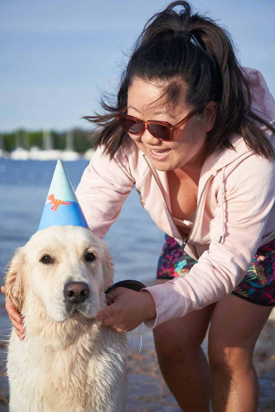 Dozer golden retriever dog birthday party - Drip Dog Birthday Cake