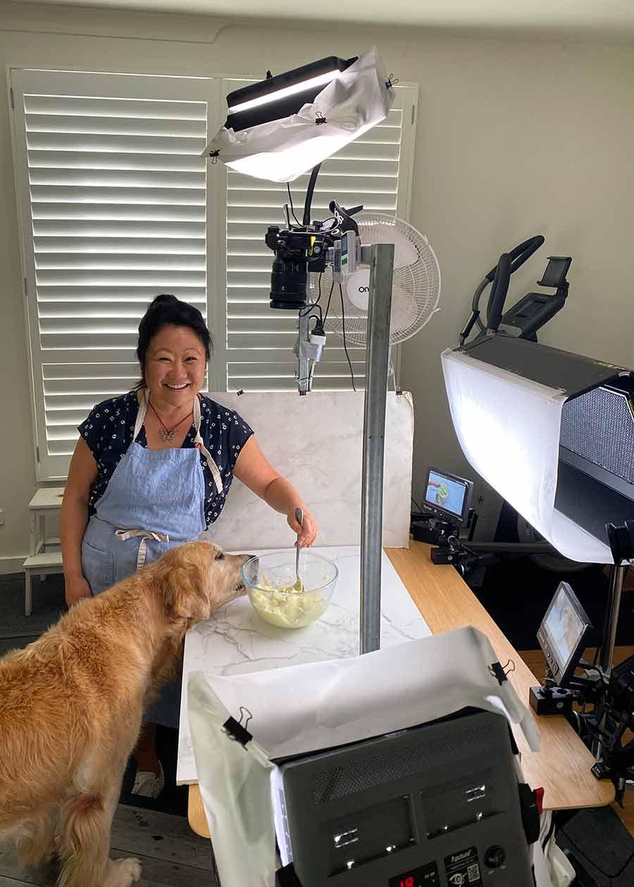 Dozer filming Drip Dog Birthday Cake recipe