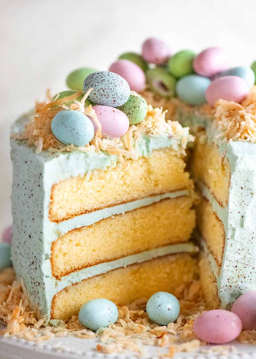 Close up of a slice of Easter Cake