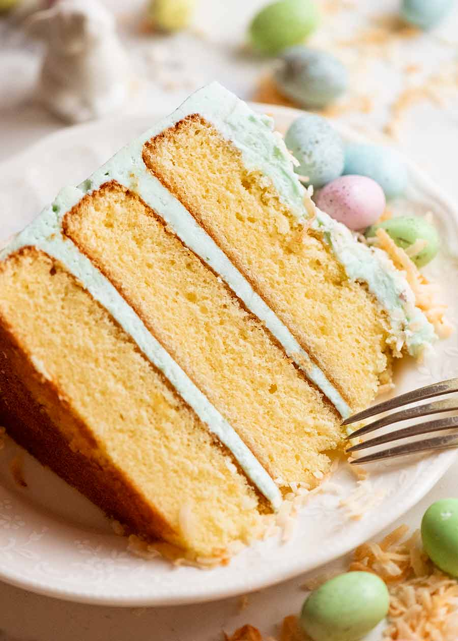 Close up of Easter Cake slice on a plate