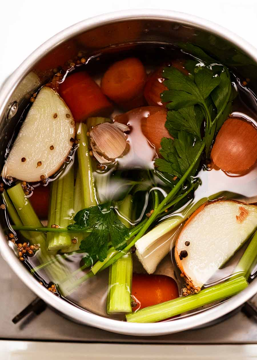 Homemade Vegetable Stock being made