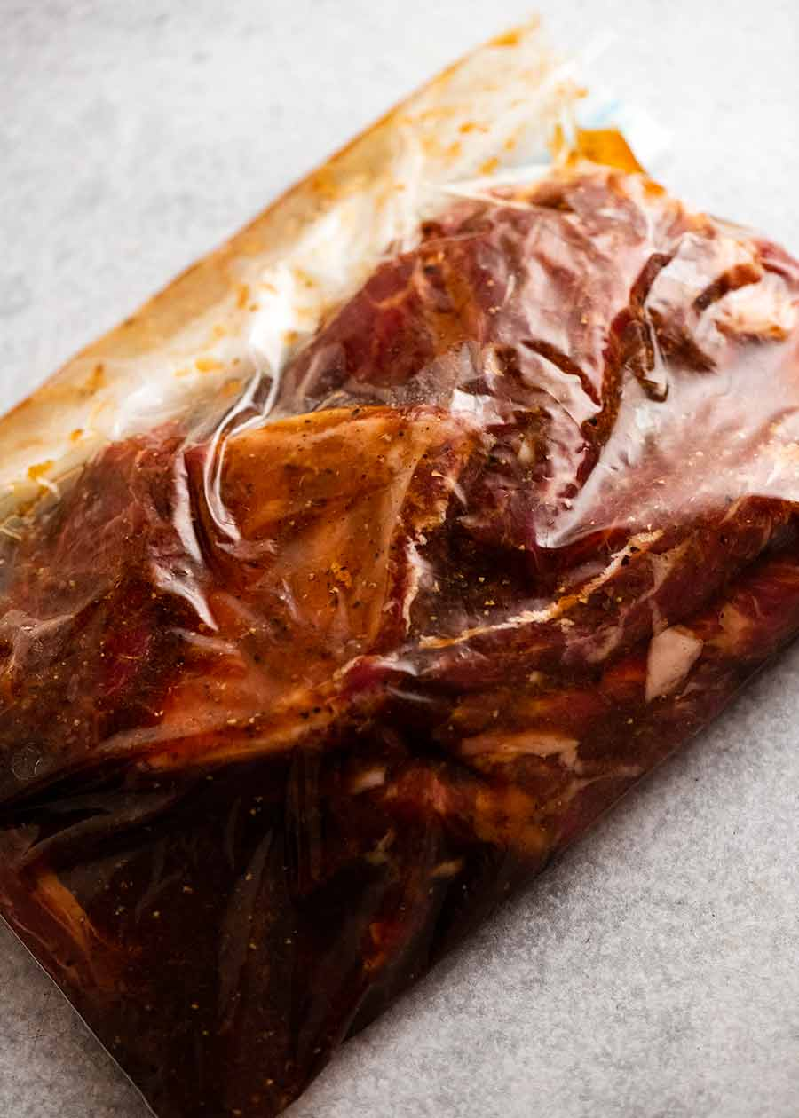 Korean BBQ Marinated Beef Short ribs (Galbi) marinating