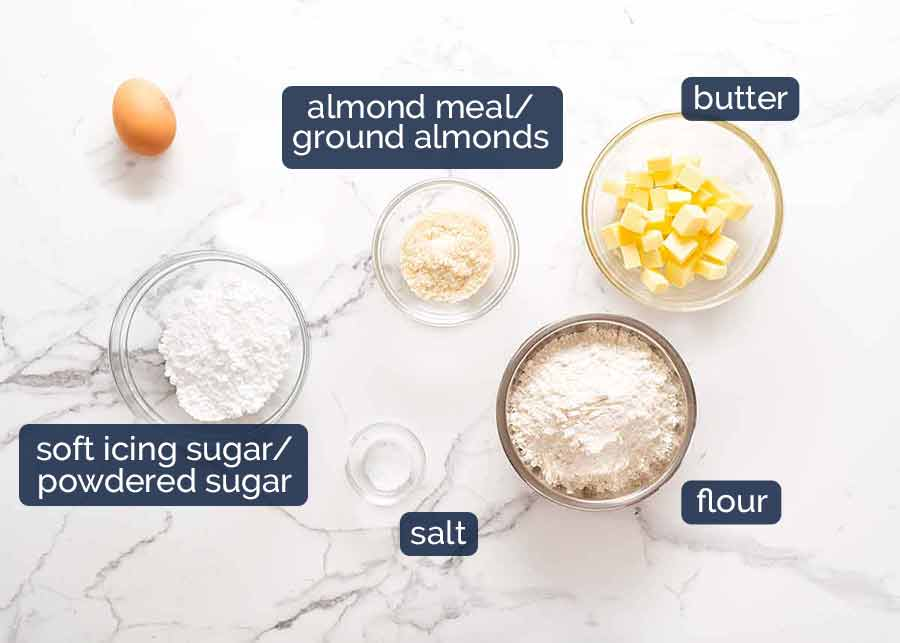 Ingredients in Sweet Tart Crust (Sweet Pastry) - French Pate Sucree