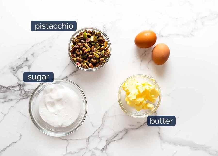 Ingredients in Pistachio Frangipane (Pistachio Cream Filling)