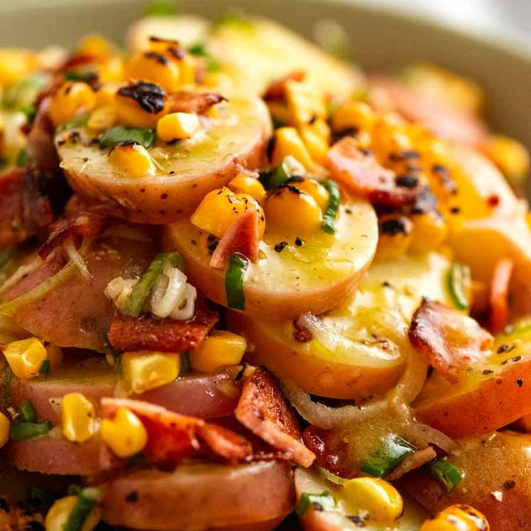 Close up photo of Red Potato Salad with bacon and corn
