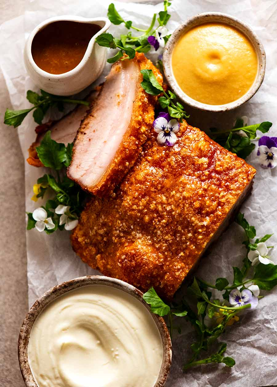 Overhead photo of Slow Roasted Crispy Pork Belly