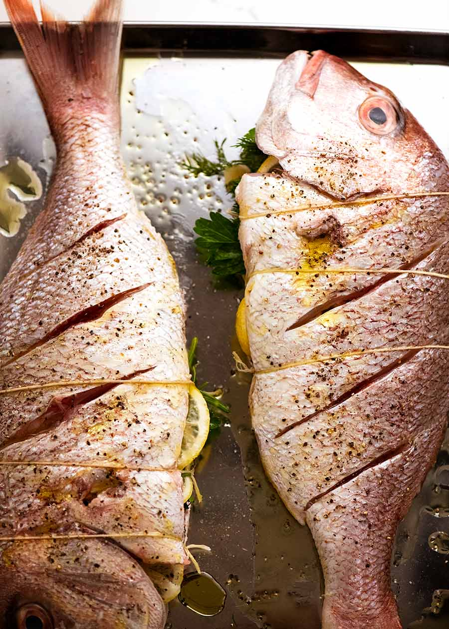 Whole Baked Fish stuffed and ready to bake