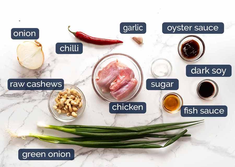 Ingredients in Thai Cashew Chicken Stir Fry
