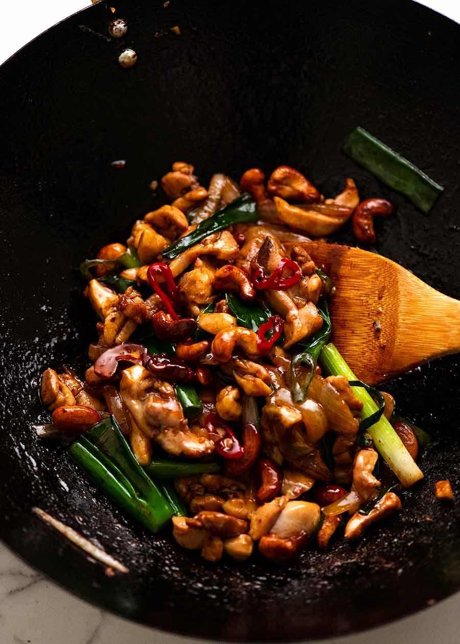 Freshly made Thai Cashew Chicken Stir Fry in a wok