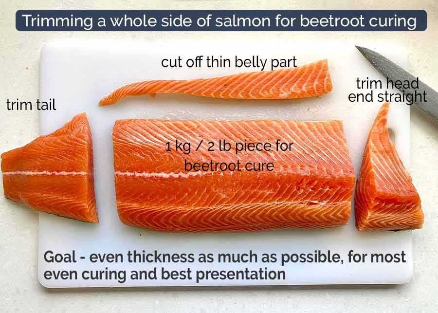 How to trim a whole side of salmon for cured salmon / gravlax