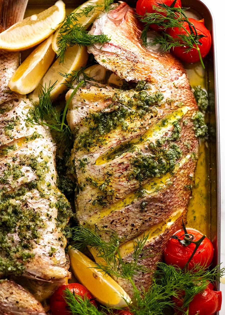 Whole Baked Fish – Snapper with Garlic & Dill Butter Sauce
