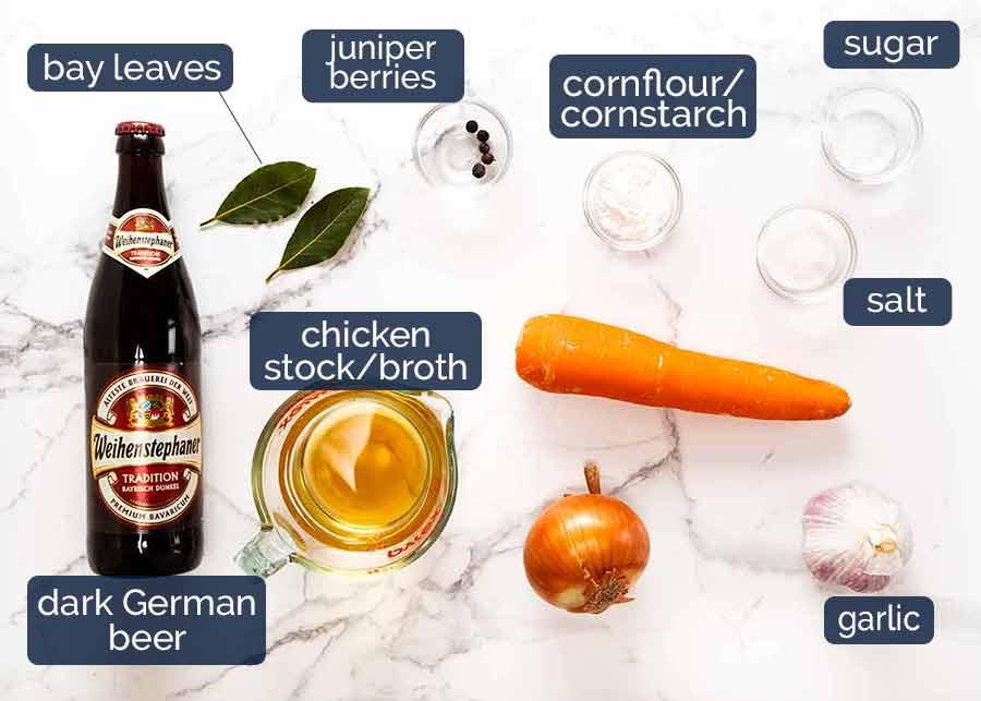 Ingredients in Beer Gravy for German Pork Knuckle (Schweinshaxe)