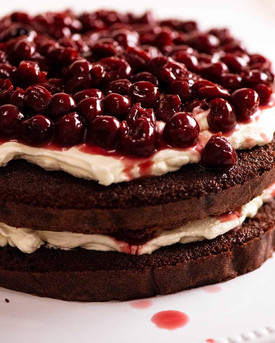 Assembling Black Forest Cake