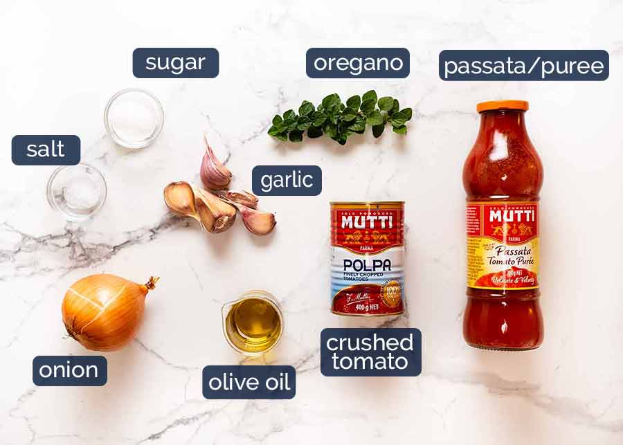 Ingredients in Tomato Sauce for Eggplant Parmigiana