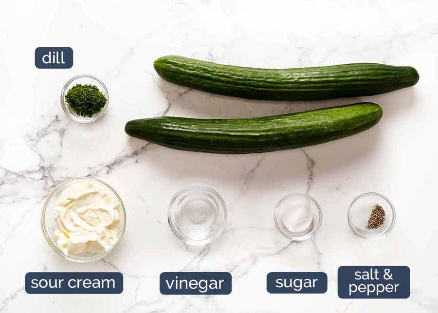 Ingredients in German Cucumber Salad