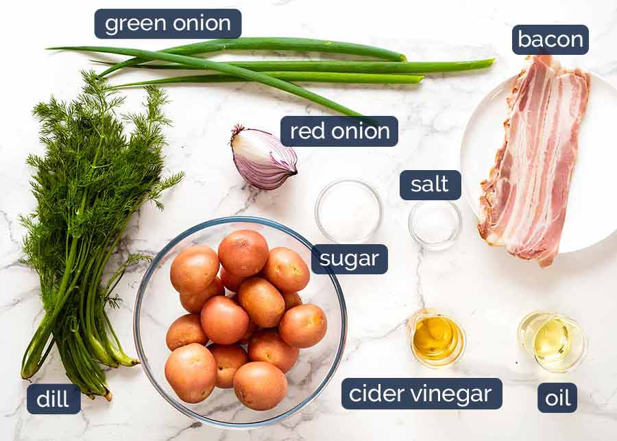 Ingredients in German Potato Salad