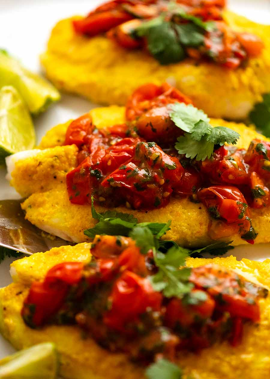 Close up of a plate of Golden Turmeric Fish (Indonesian) made with John Dory, ready to be served